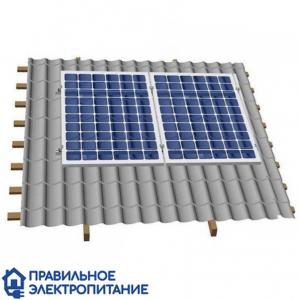Система креплений 2 солнечных панелей на крышу