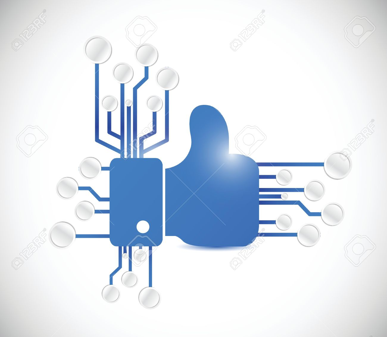 26504309-thumbs-up-and-circuit-board-connection-illustration-design-over-a-white-background